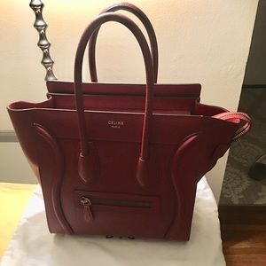 Celine Mini Luggage Rare Maroon Color!